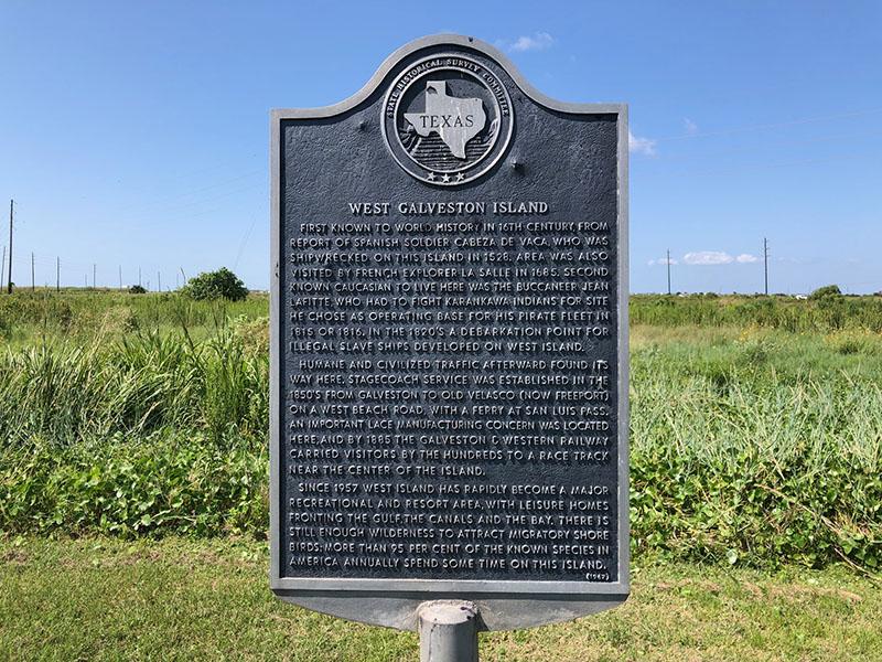 West Galveston Island Historical Marker on 13 Mile Road