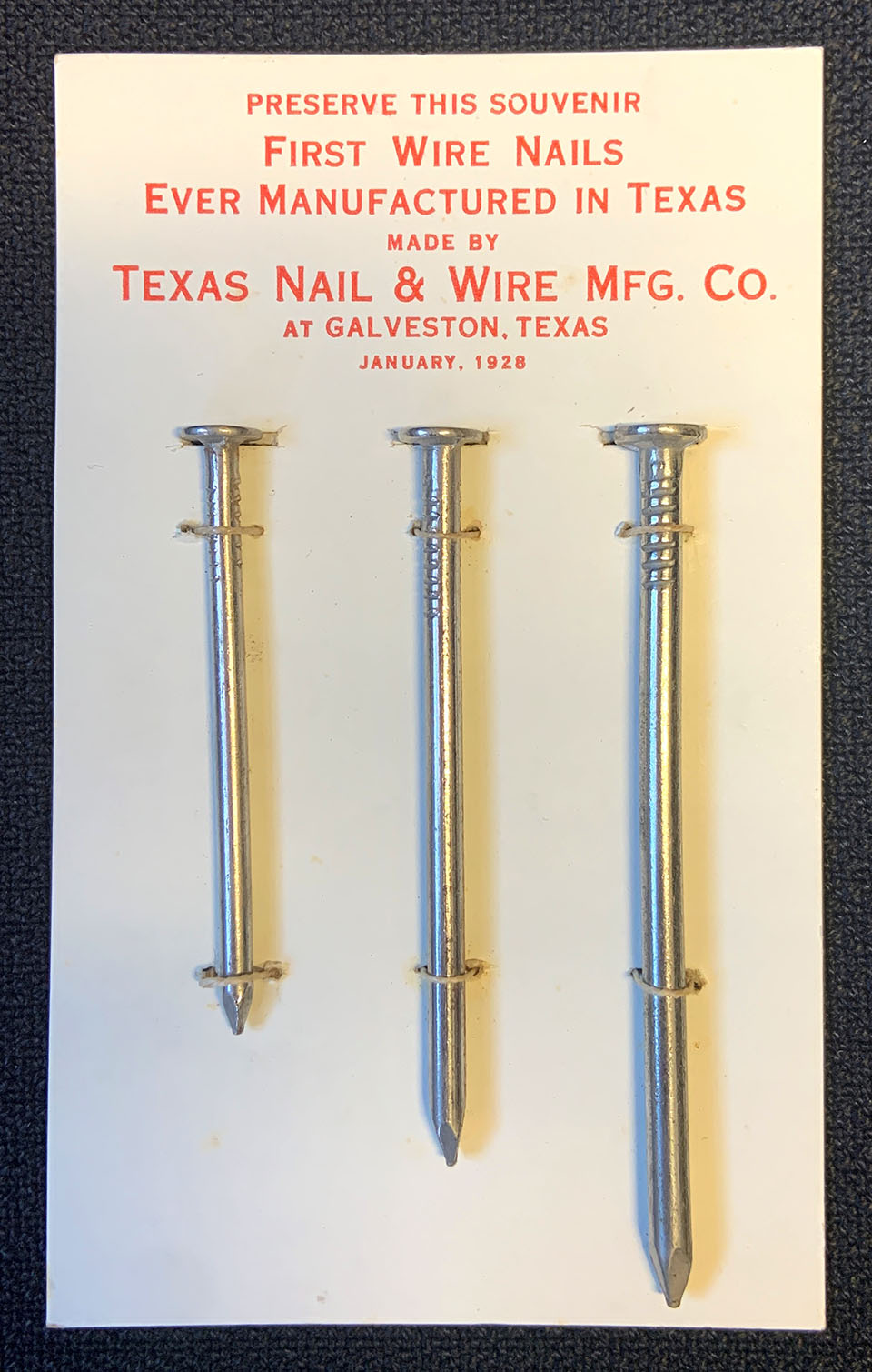 First Wire Nails Manufactured in Texas