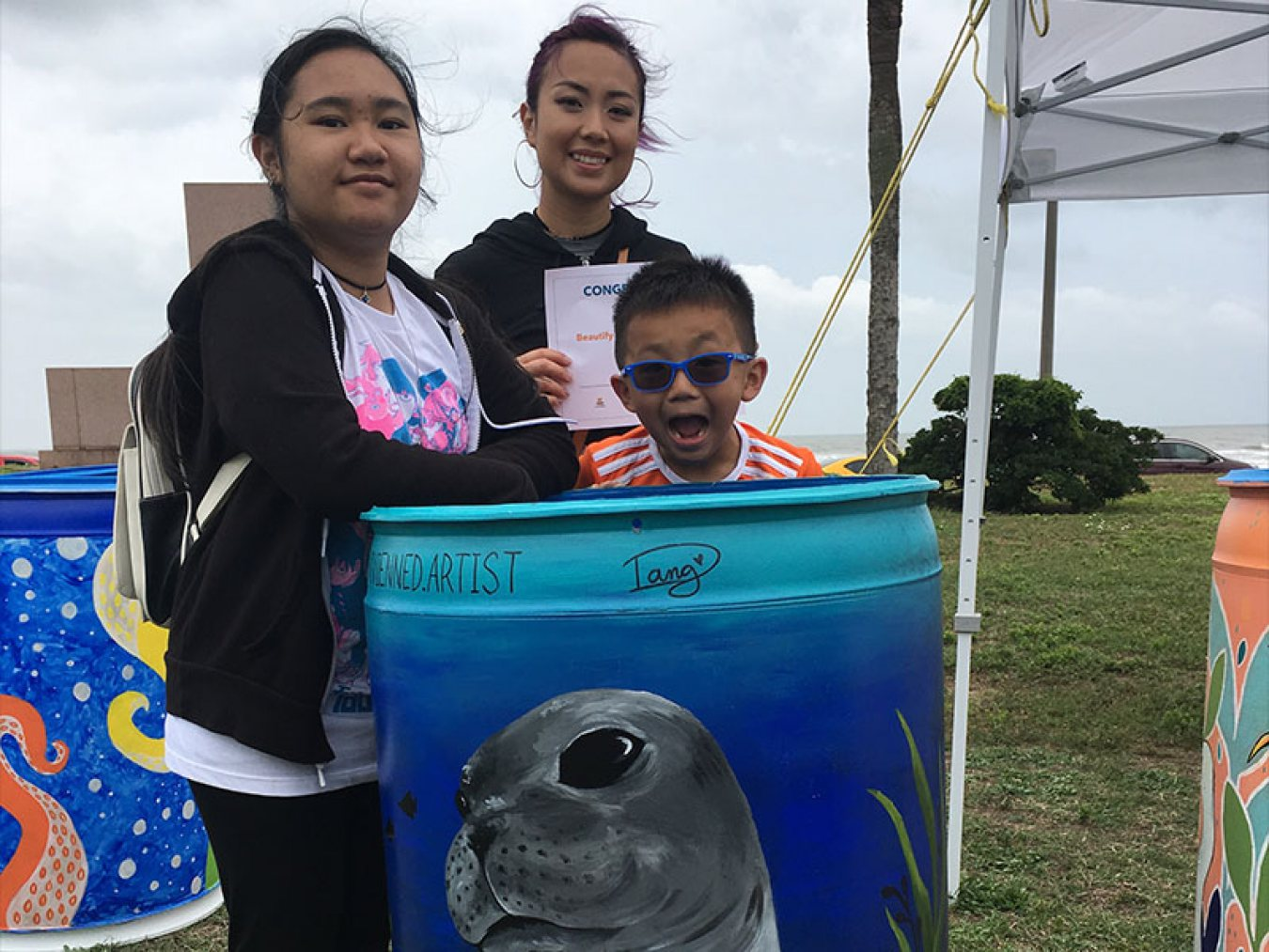 Kids with Painted Bucket
