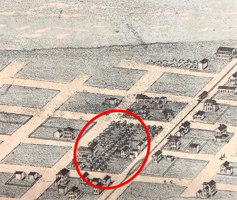 1871 Map of Schmidt's Garden and Homestead